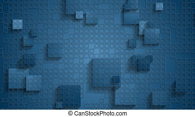 Blue geometric checkered video animation with squares