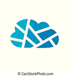 blue geometric cloud icon- vector illustration