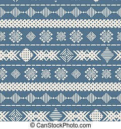 Blue geometric embroidery seamless vector pattern background texture for fabric, wallpaper, scrapbooking projects, backgrounds.