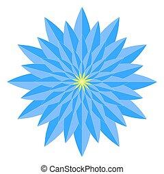 Blue geometric flower mandala.