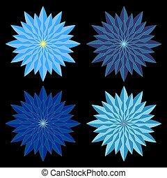 Blue geometric flower mandala set.