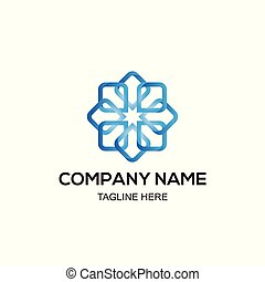 blue geometric logo design vector template