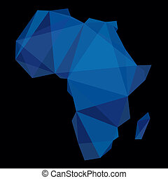 blue geometric map of Africa on black background