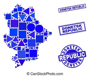 Vector mosaic Donetsk Republic map. Geographic collage in blue color tones, and grunge round and rectangle seals. Abstract mosaic of Donetsk Republic map combined of round, triangles,