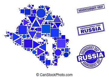 Blue Geometric Mosaic Krasnodarskiy Kray Map and Stamps - ...