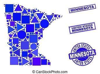 Blue Geometric Mosaic Minnesota State Map and Stamps