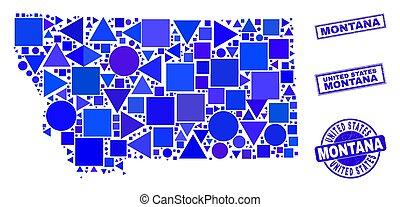 Blue Geometric Mosaic Montana State Map and Stamps