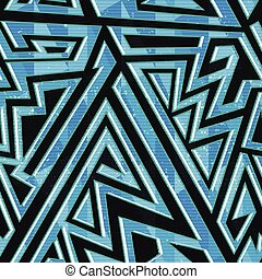 Blue geometric seamless pattern