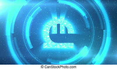 Blue Georgian lari currency symbol on space background with circles. Seamless loop.