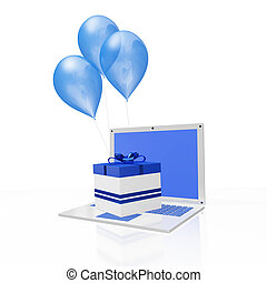 Blue Gift and Balloons on White Laptop
