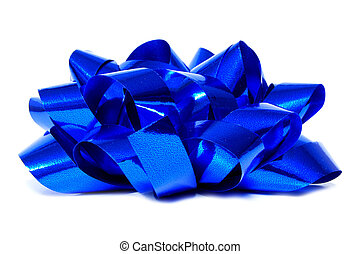 Blue gift bow - Single blue Christmas gift bow isolated on...