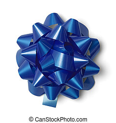 Blue Gift Bow - Classic Blue Present Bow Isolated on White...