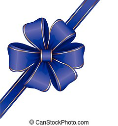 blue gift bow with ribbon