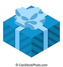 Blue gift box icon, isometric style