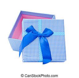 Blue gift box. Isolated on white background.