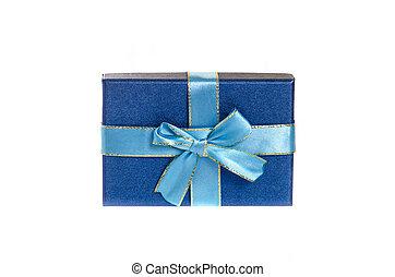 Blue gift box isolated on white.