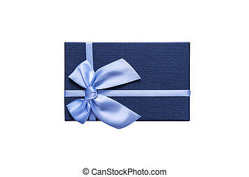 Blue gift box on a white background.