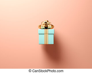 Blue gift box on pink background 3d rendering