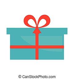 blue gift box present ribbon