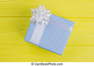 Blue gift box, top view.