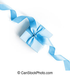 Blue gift box with a blue ribbon on a white background .