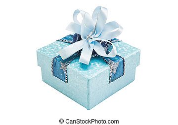 blue gift box with gold and red ribbon bow, isolated on white background with clipping path