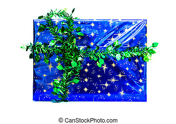 Blue gift box with green ribbon.