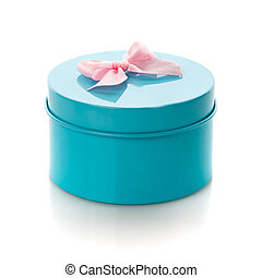 Blue gift box with pink ribbon isolate