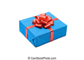 Blue gift box with red bow