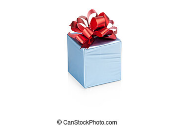 Blue gift box with red ribbon