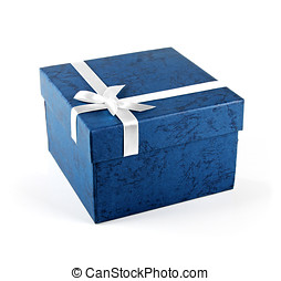 blue gift box with ribbon bow isolated on white