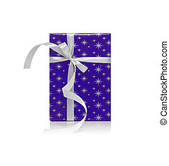 Blue gift box with ribbon isolated on a white.