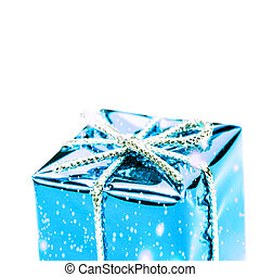 gift box with silver ribbon, bow and snowflakes isolated on white macro. Christmas, Valentine's, Birthday gift box