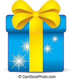 Blue gift box with snowflakes and yellow ribbon, vector illustration