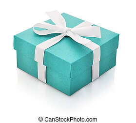 Blue gift box with white ribbon isolated on white...