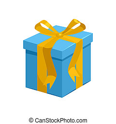 Blue gift box with yellow ribbon icon