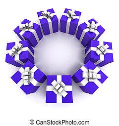 blue gift boxes circle