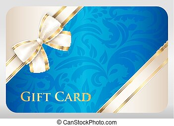 Blue gift card with damask ornament and cream diagonal...