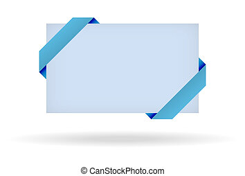 blue gift card with dotted ribbon and shadow on white background