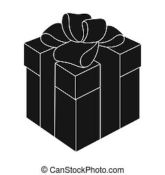 Blue gift for a holiday with an yellow bow. Gifts and Certificates single icon in black style bitmap symbol stock illustration.