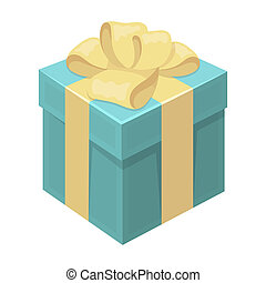 Blue gift for a holiday with an yellow bow. Gifts and Certificates single icon in cartoon style bitmap symbol stock illustration.