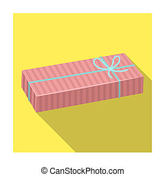 Blue gift for a holiday with an yellow bow. Gifts and Certificates single icon in flat style bitmap symbol stock illustration.