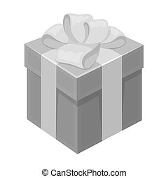 Blue gift for a holiday with an yellow bow. Gifts and Certificates single icon in monochrome style bitmap symbol stock illustration.