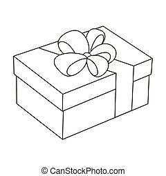 Blue gift for a holiday with an yellow bow. Gifts and Certificates single icon in outline style bitmap symbol stock illustration.