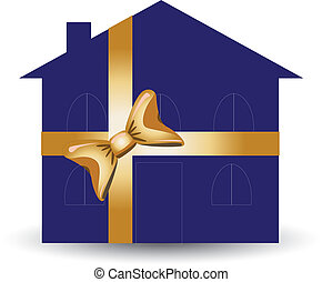 Blue Gift House - Gift house for advertising usage, vector...