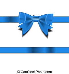 Blue Gift Ribbon . Vector illustration
