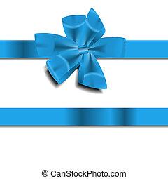 Blue Gift Ribbon . Vector illustration