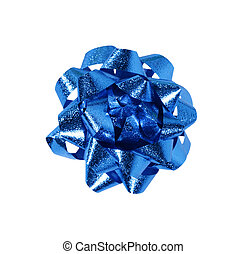 blue gift wrap bow isolated over a white background.
