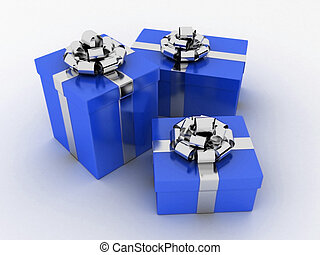 blue gifts - 3d rendered illustration of presents with ...