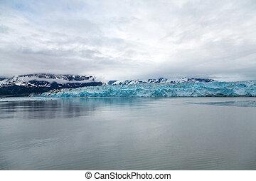 Blue Glacier Ice in Misty Waters